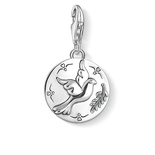 Thomas Sabo Silver Disc Dove Charm - 1701-637-21
