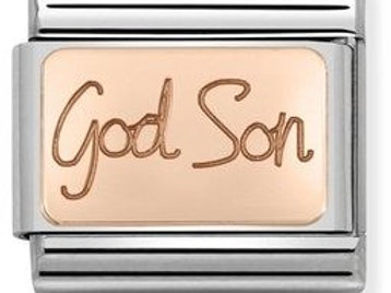 Nomination Rose Gold God Son Plates Charm Link - 430108/04