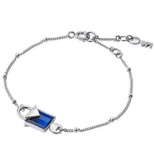 Michael Kors Sterling Silver with Blue Quartz Padlock Pendant Charm Bracelet