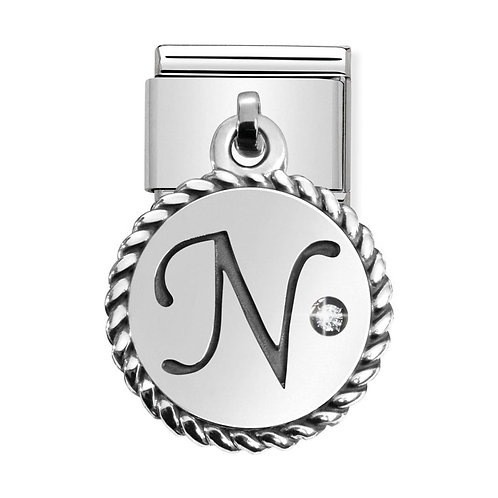 Nomination Silvershine Letter N Dangle Charm Link - 331809/14