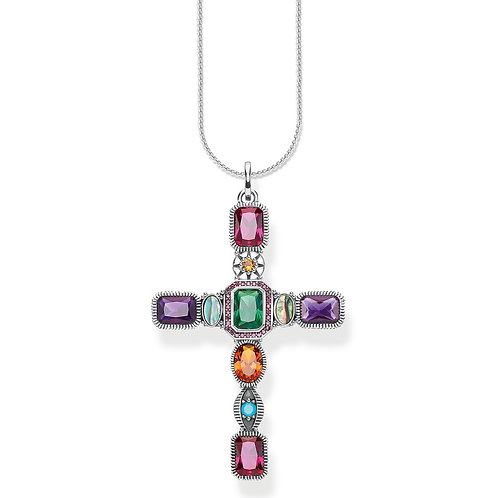 Thomas Sabo Sterling Silver Colourful Cross Necklace-PE859-294-7