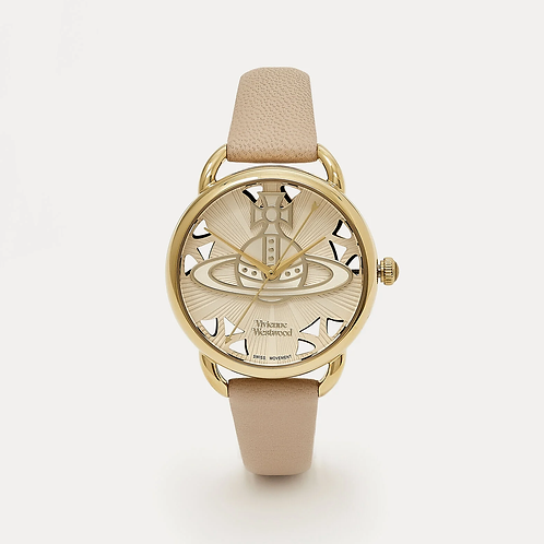 Vivienne Westwood Leadenhall Baby Pink Leather Strap and Yellow Gold Tone Watch