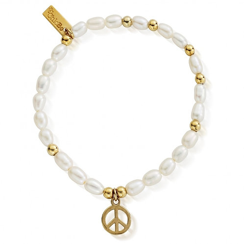 ChloBo Silver Small Pearl Gold Peace Bracelet - GBPED106