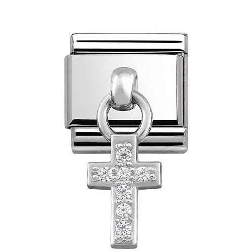 Nomination Silvershine Faith Cross with CZ Dangle Charm Link - 331800/04