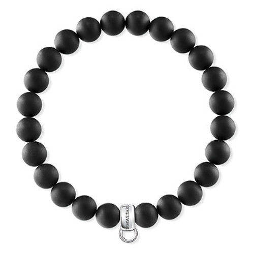 Thomas Sabo Charm Club Matt Black Bead Bracelet - X0219-023-11-XL