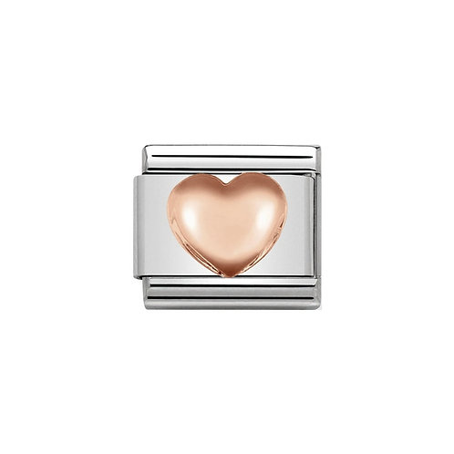 Nomination Rose Gold Raised Heart Charm Link - 430104/22