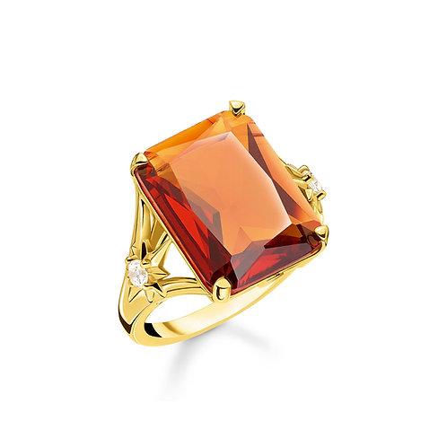 Thomas Sabo Silver Gold, Orange Stone Clear CZ Stones Ring - TR2261-971-8