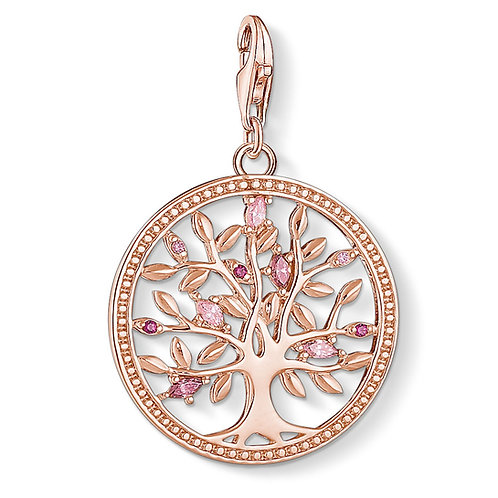 Thomas Sabo Silver Rose Gold Tree of Love Pink Charm - 1700-626-9