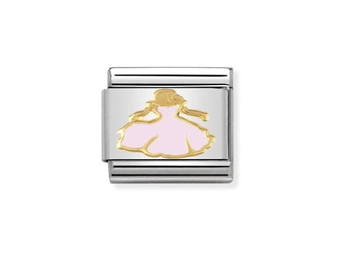 Nomination Gold and Pink Princess Charm Link - 030272/15