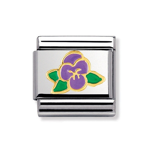 Nomination Gold Purple Violet Flower Charm Link - 030278/15