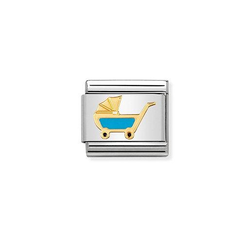 Nomination Gold Classic Blue Pram Charm Link - 030208/48
