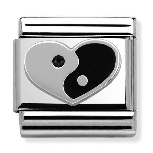 Nomination Silvershine Heart Yin-Yang Charm Link - 330202/20