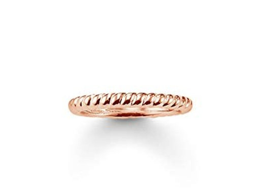Thomas Sabo Silver Rose Gold Twist Band Ring - TR1978-415-12