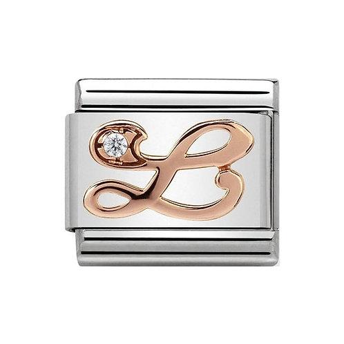 Nomination Rose Gold L Letter Charm Link  - 430310/12