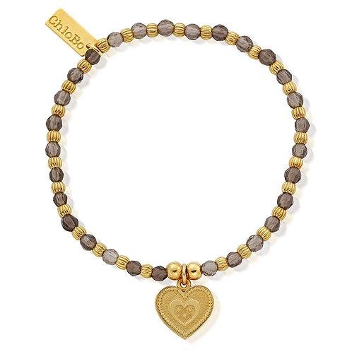 ChloBo Silver Gold Plated Smoky Quartz Heart Bracelet - GBSMOCUB084
