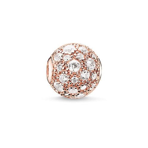 Thomas Sabo Karma Rose Gold Tone Crushed Pave Bead Charm -K0105-416-14