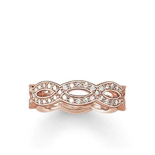Thomas Sabo Silver Rose Gold Eternal Links Ring - TR1973-416-14-54
