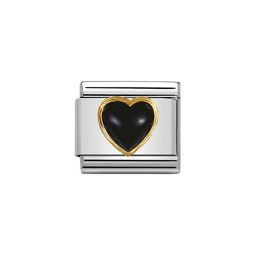 Nomination Gold Black Agate Stone Heart  Charm Link - 030501/02