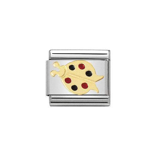 Nomination Gold, Red and Black Ladybird Charm Link - 030211/07