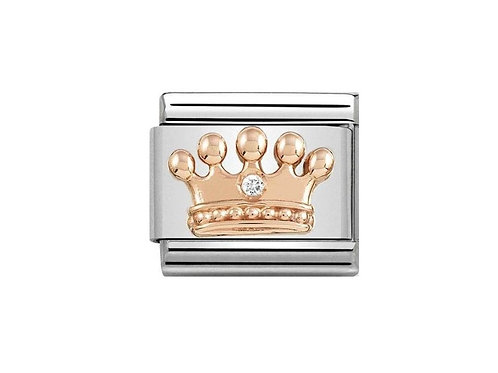 Nomination Rose Gold Crown with Cubic Zirconia Charm Link  - 430305/24