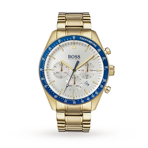 Hugo Boss Trophy Yellow Gold and Blue Stainless Steel Band Men's Watch - 1513631