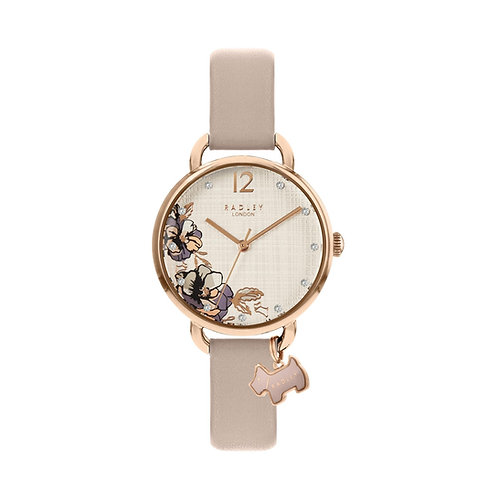 RADLEY Ladies Rose Gold Tone Pink Leather Floral Strap Watch - RY2982