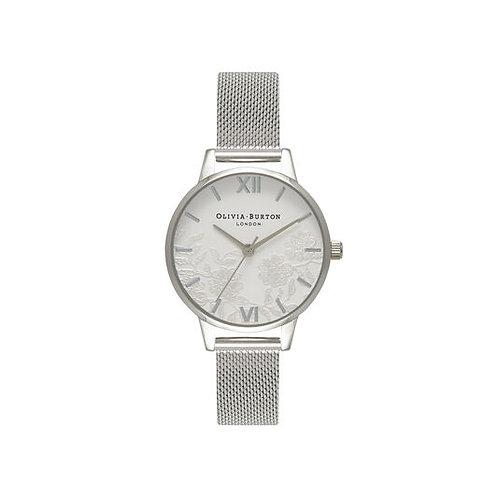 Olivia Burton Lace Detail Silver Mesh Bracelet Watch - OB16MV54