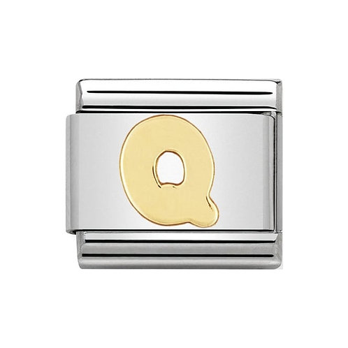 Nomination Gold Initial Q Charm Link -030101/17