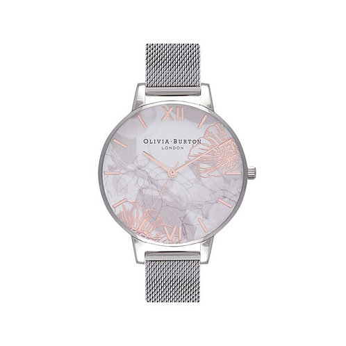 Olivia Burton Abstract Florals Silver Mesh Watch - OB16VM20