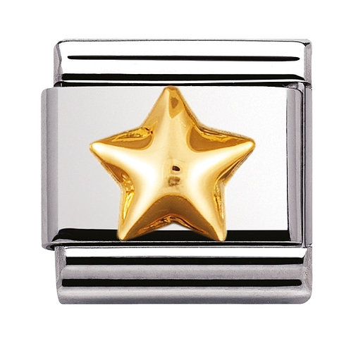 Nomination Gold Raised Star Charm Link - 030110/12