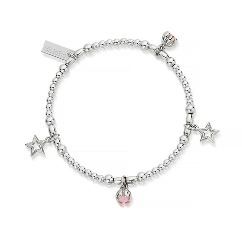 ChloBo Silver and Pink Opal Dreamy Night Sky Bracelet - SBSBR20132017
