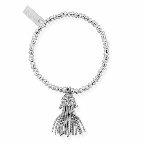 ChloBo Silver Mini Disc Tassel Bracelet - SMD933