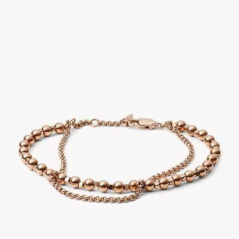 Fossil Women's Stainless Steel Rose Gold Multi-beaded Bracelet