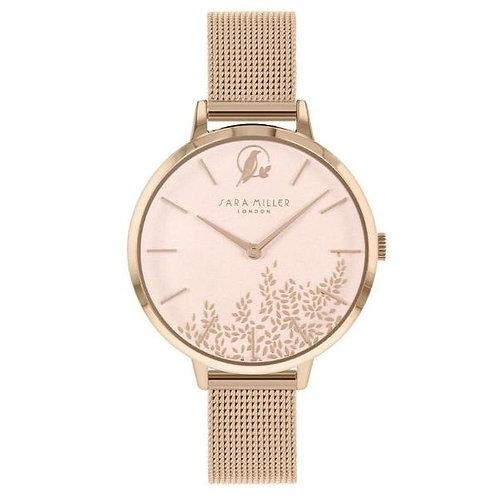 SARA MILLER - Pink Gold Leaf Rose Gold Mesh Strap Watch - SA4022