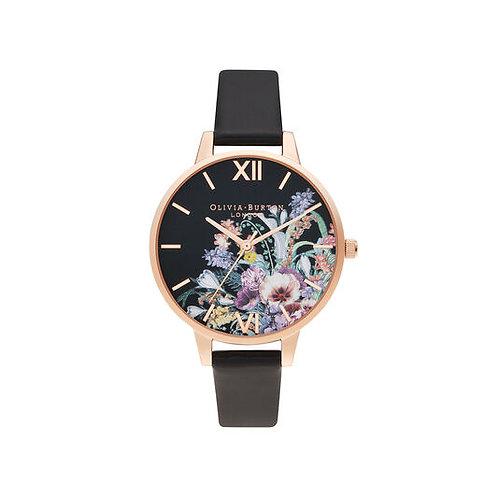 Olivia Burton Enchanted Garden Vegan Black and Rose Gold Watch - OB16EG155
