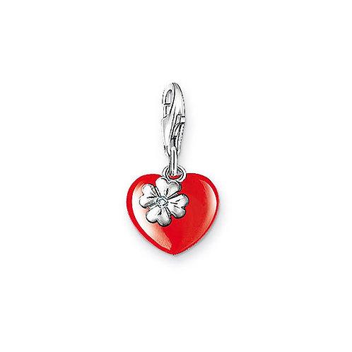 Thomas Sabo Silver Red Enamel Heart Diamond Charm - DC0007-154-10