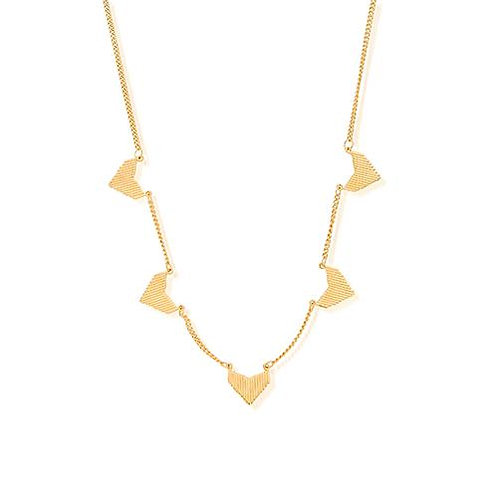 ChloBo Sterling Silver 24ct Gold Plated Multi Arrow Head Necklace