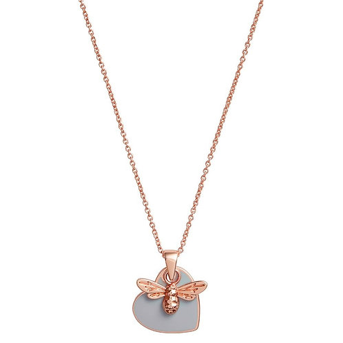 Olivia Burton You have My Heart Pale Grey and Rose Gold Necklace OBJLHN17