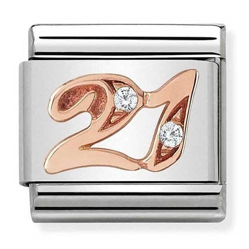 Nomination Rose Gold 21 Charm Link with Cubic Zirconia   - 430315/21
