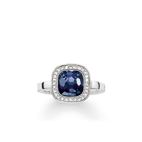 Thomas Sabo Silver Dark Blue Solitaire Ring - TR2029-050-1-56