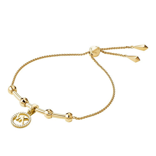 Michael Kors Yellow Gold Custom Logo Bar Bracelet
