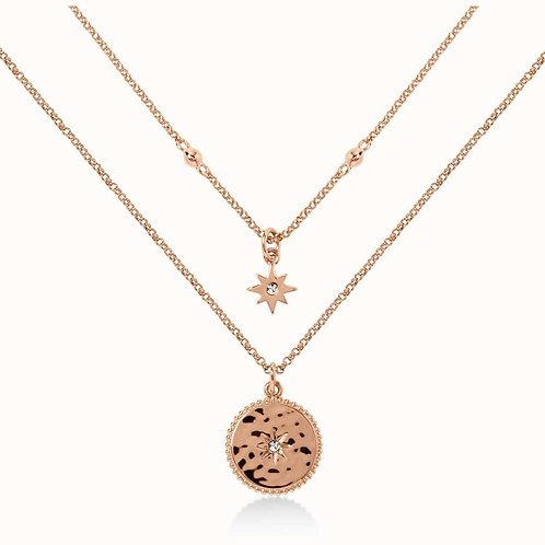 RADLEY Sterling Silver Rose Gold Plated Double Celestial Star Necklace