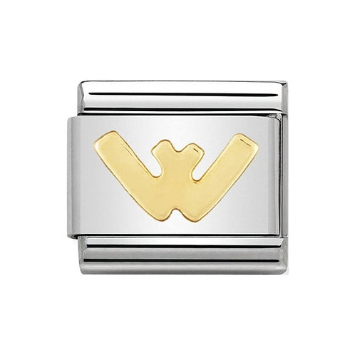 Nomination Gold Initial W Charm Link -030101/23
