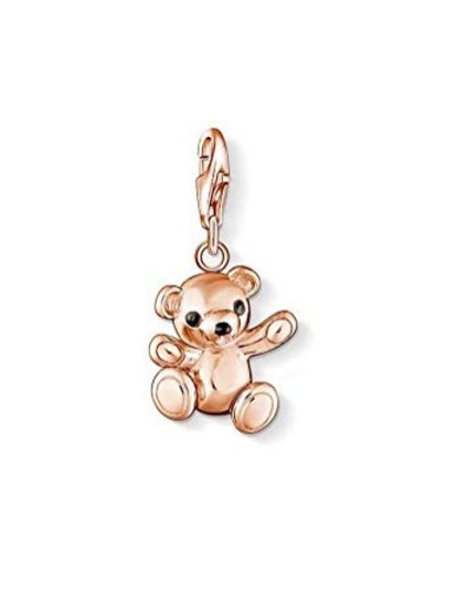 Thomas Sabo Silver Rose Gold Teddy Bear Charm - 0997-443-12