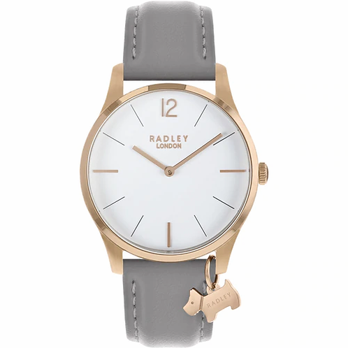 RADLEY Ladies Rose Gold Grey Leather Strap Watch - RY2712
