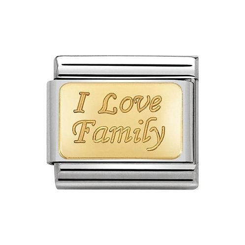 Nomination Gold Engraved I Love Family Charm Link - 030121/33