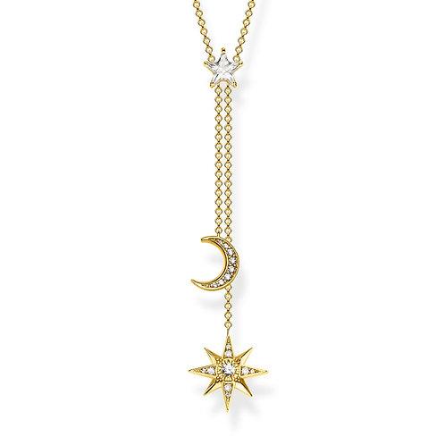 Thomas Sabo Sterling Silver Moon and Stars Gold Necklace - KE1900-414-14-l45v