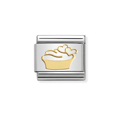 Nomination Gold Muffin Cake and Hearts Charm Link - 030162/02