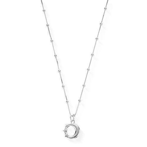 ChloBo Sterling Silver Bobble Chain Moon and Star Necklace - SNBB580