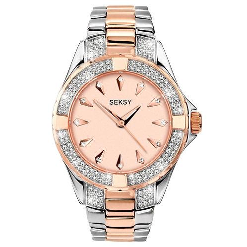 Sekonda Seksy Ladies Crystal Two Tone Pink Face Watch - 4233